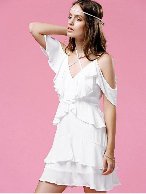 online Strappy Ruffle White Dress - WHITE L Mobile