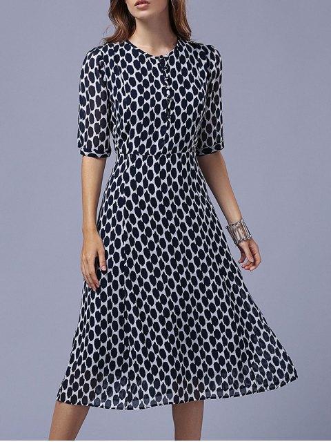 sale Polka Dot Round Neck Half Sleeve Swing Dress -   Mobile