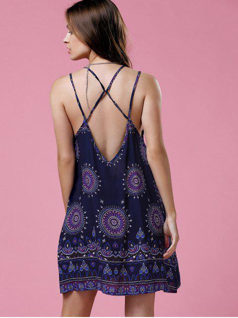 fancy Ethnic Print Cami Backless Dress - PURPLISH BLUE S Mobile