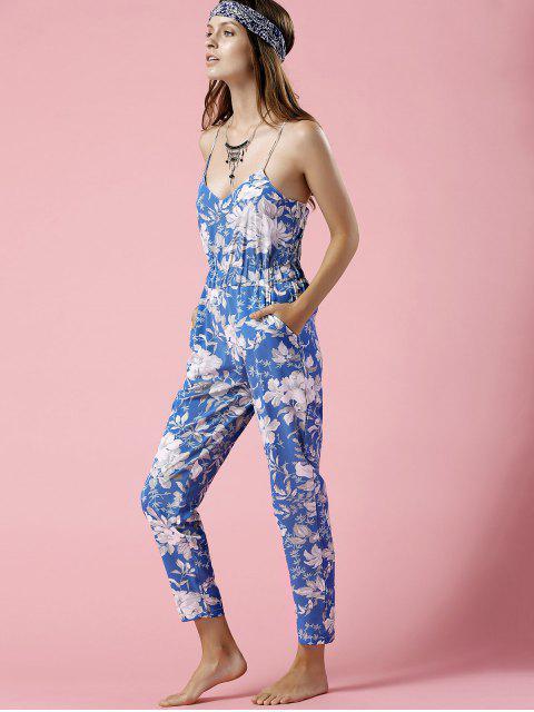 womens Blue Floral Print Cami Jumpsuit - BLUE XL Mobile