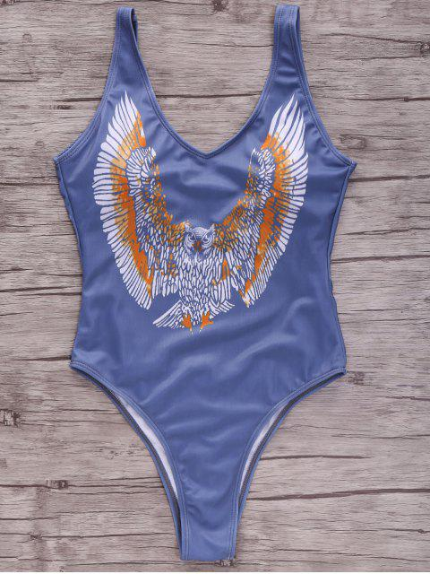 women's Eagle Print Plunging Neck One-Piece Swimwear - BLUE M Mobile