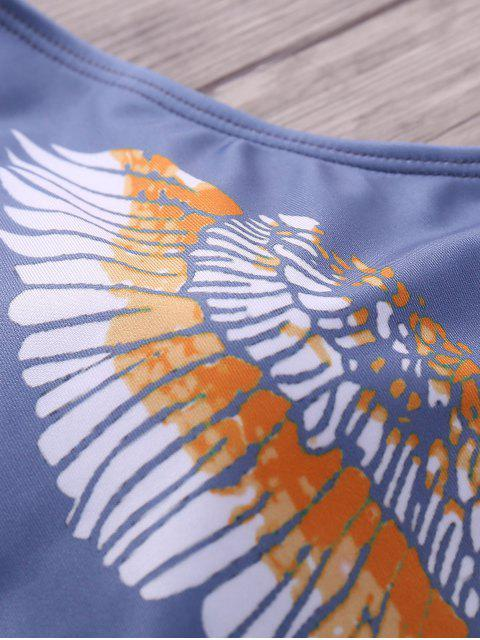 ladies Eagle Print Plunging Neck One-Piece Swimwear - COLORMIX S Mobile