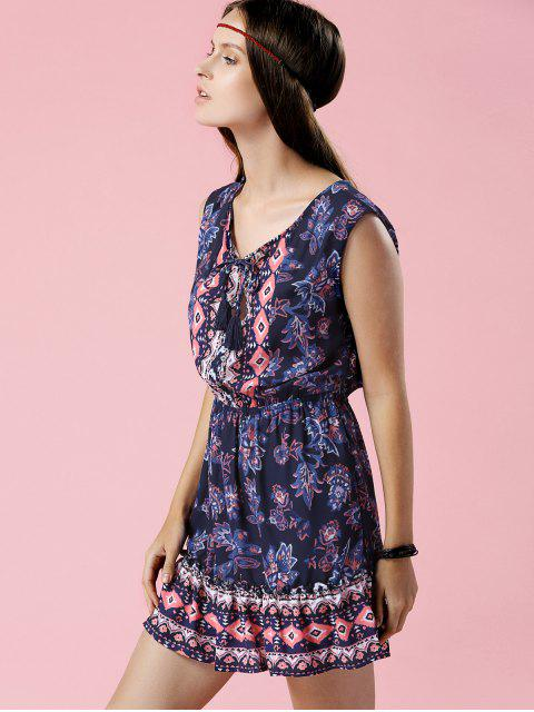 new Printed V-Neck Sleeveless Waisted Dress - PURPLISH BLUE S Mobile