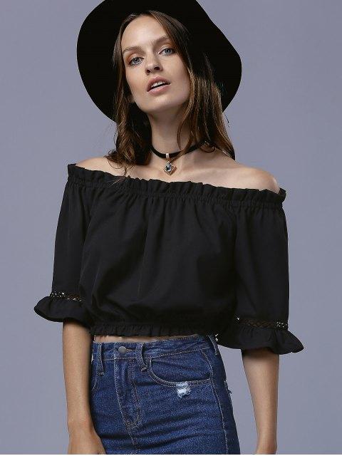 shop Black Folded 3/4 Sleeve Off The Shoulder T-Shirt - BLACK S Mobile