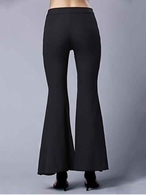 fancy Black High Waist Flare Pants - BLACK 2XL Mobile