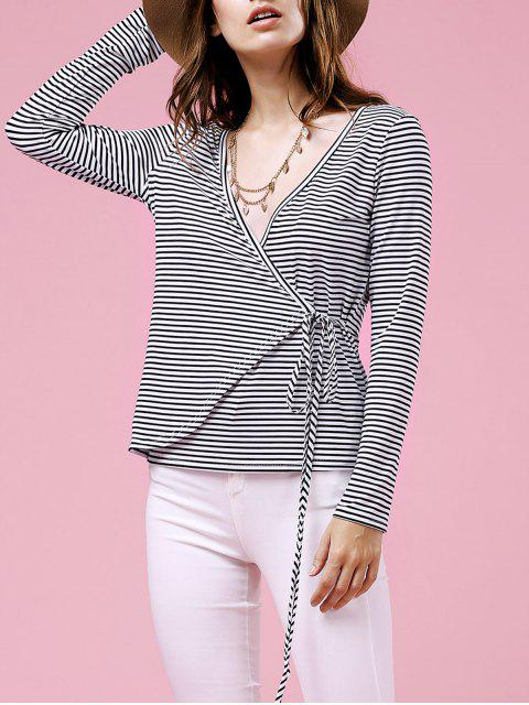 best Drawstring Striped Plunging Neck Long Sleeve T-Shirt - WHITE M Mobile