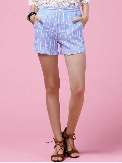 Striped Scallop Shorts - Bleu clair XL Mobile