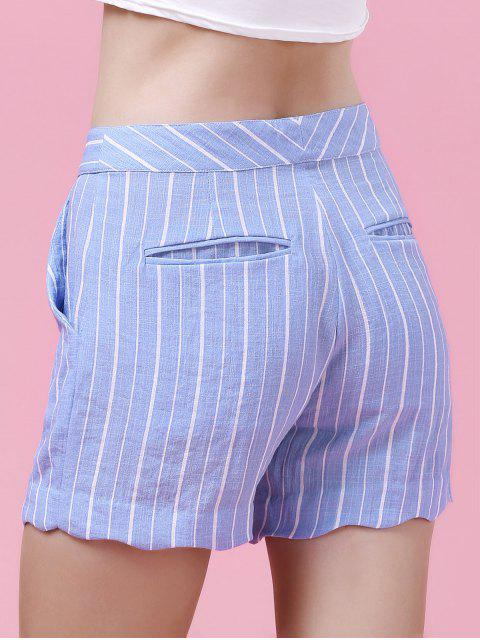 womens Striped Scalloped Hem Shorts - LIGHT BLUE XL Mobile