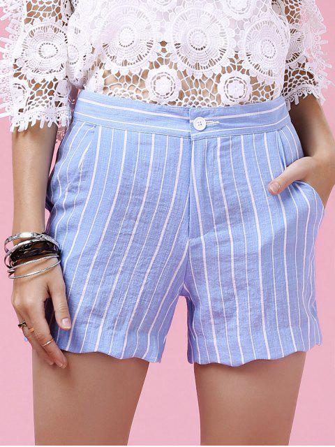 ladies Striped Scalloped Hem Shorts - LIGHT BLUE S Mobile