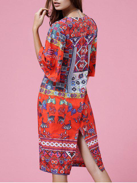 hot Retro Print Round Neck Half Sleeve Dress - ORANGEPINK S Mobile