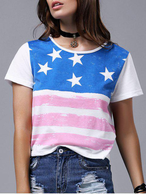 ladies America Flag Print Short Sleeve Round Neck T-Shirt - WHITE L Mobile