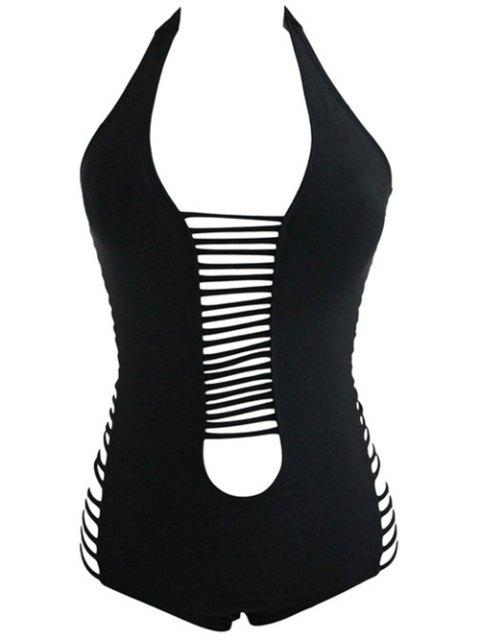 fashion Hollow Out Plunging Neck One Piece Swimwear - BLACK M Mobile