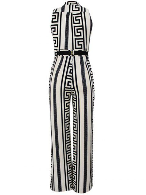 shops Printed Stand Neck Sleeveless Jumpsuit - WHITE M Mobile
