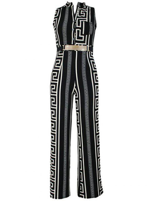 fancy Printed Stand Neck Sleeveless Jumpsuit - BLACK L Mobile