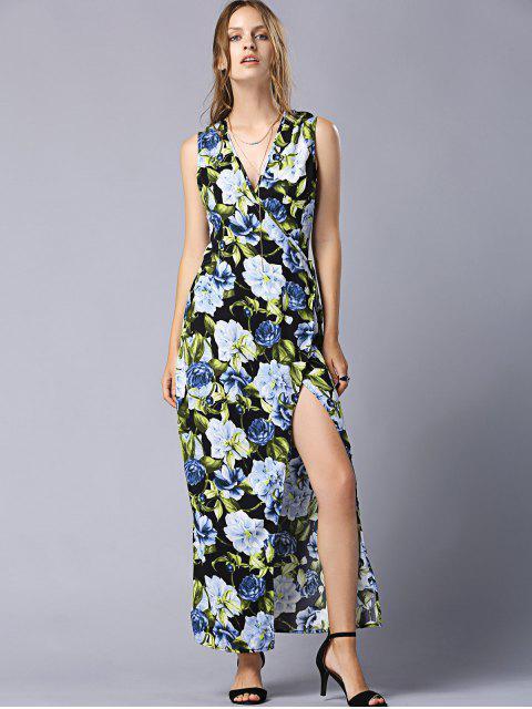 ladies High Slit V-Neck Floral Wrap Maxi Dress - COLORMIX M Mobile
