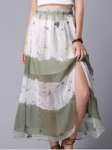 unique Tie Dye High Waist Chiffon Skirt - COLORMIX M Mobile