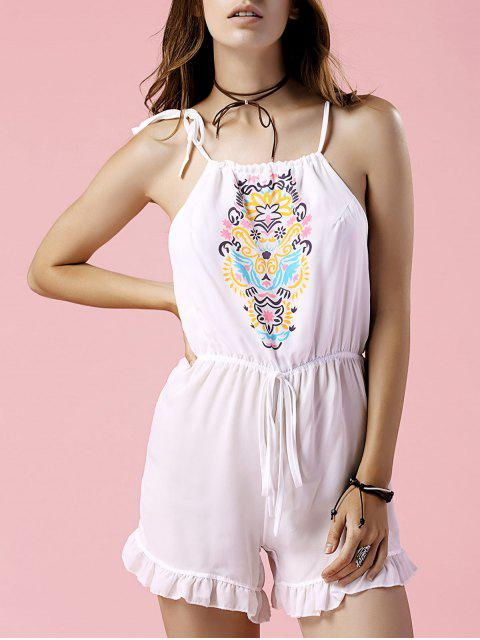 fashion Floral Print Cami Cut Out Romper - WHITE M Mobile