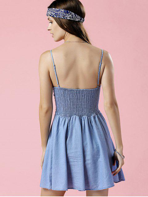 unique Embroidered Denim Cami Dress - BLUE L Mobile