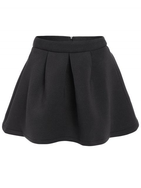 shops A-Line Pleated Solid Color Skirt - BLACK L Mobile