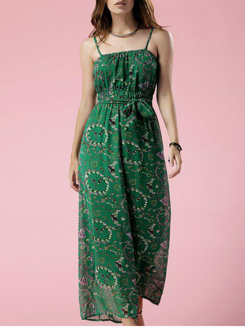 online Green Print Cami Chiffon Jumpsuit - GREEN L Mobile