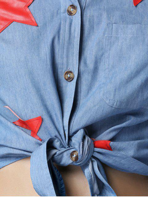 women's Star Pattern Turn Down Collar Long Sleeve Chambray Shirt - BLUE L Mobile