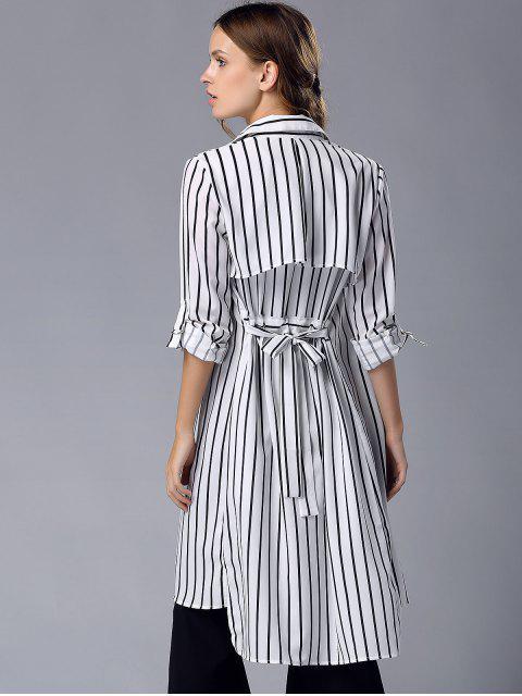outfit Striped Turn Down Collar Chiffon Maxi Shirt - STRIPE M Mobile