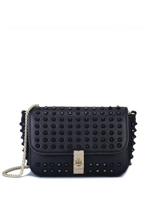 unique Studded Hasp Solid Color Crossbody Bag - BLACK  Mobile