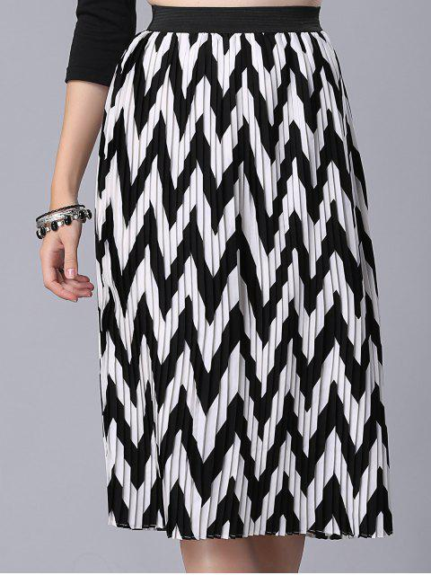 womens High Waist Zig Zag Pattern Skirt - WHITE AND BLACK L Mobile