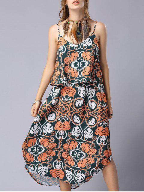fancy Print Cami Flounce Splice Popover Dress - COLORMIX M Mobile