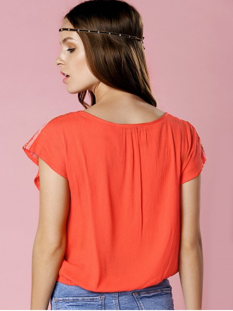 online Floral Embroidery Short Sleeve Cropped T-Shirt - ORANGE S Mobile