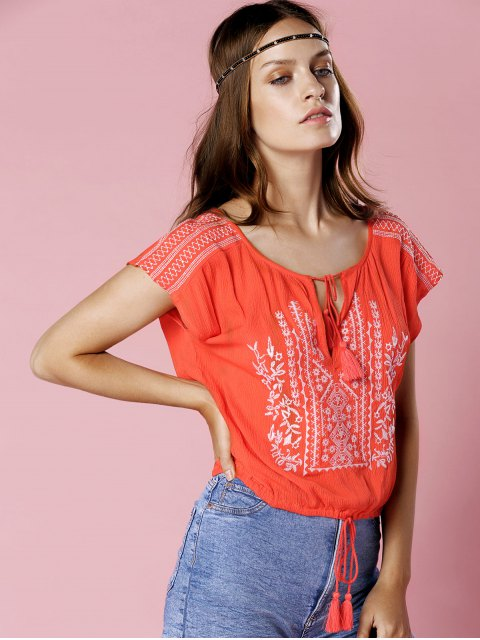 best Floral Embroidery Short Sleeve Cropped T-Shirt - ORANGE M Mobile