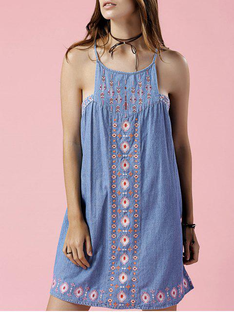 womens Retro Embroidery Sleeveless Chambray Dress - LIGHT BLUE S Mobile