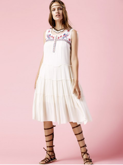 shops Floral Embroidery Scoop Neck Sundress - OFF-WHITE L Mobile