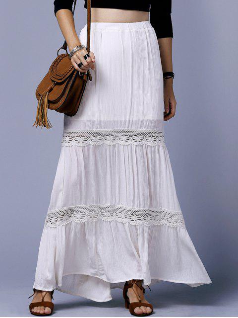 Off White alta cintura del empalme del cordón de la falda - Blancuzco XS Mobile