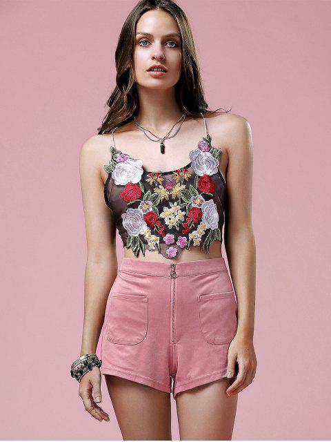 Shorts en suédé avec zip exposé - ROSE PÂLE 2XL Mobile