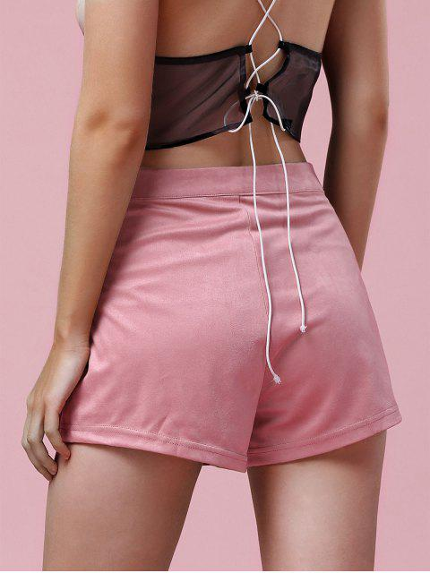 lady Exposed Zip Suede Shorts - PINK 2XL Mobile