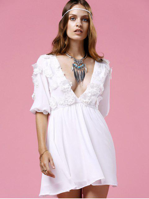 fancy Flower Patchwork Plunging Neck 3/4 Sleeve Dress - WHITE S Mobile
