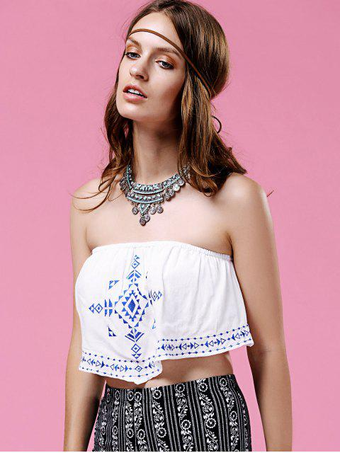 shop Ethnic Embroidery Strapless Crop Top - WHITE L Mobile