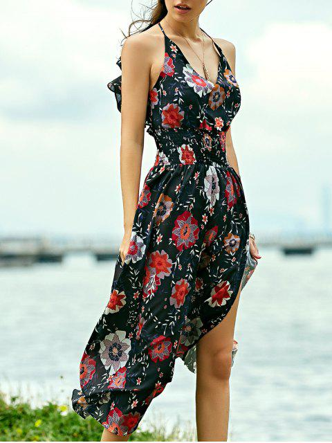 ladies Floral Print Beach Maxi Dress - BLACK L Mobile