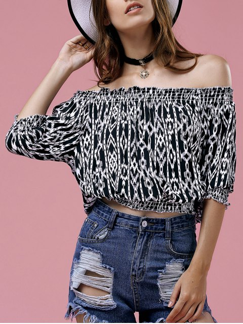 affordable Off The Shoulder Printed Top - BLACK M Mobile