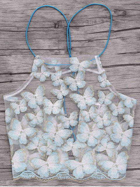 fancy Backless Butterfly Embroidery Spaghetti Straps Crop Top - WHITE ONE SIZE(FIT SIZE XS TO M) Mobile
