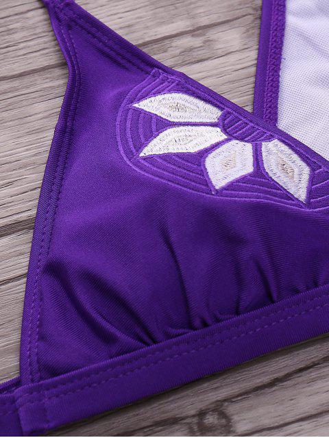 outfit Embroidered Cami Bikini Set - PURPLE L Mobile