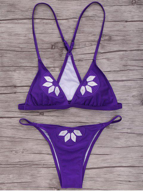 hot Embroidered Cami Bikini Set - PURPLE XL Mobile
