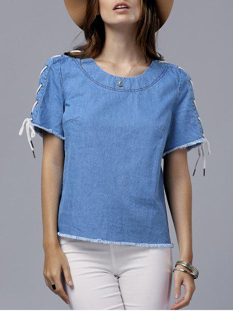 Vintage Lace-Up col rond T-shirt à manches courtes - Bleu 2XL Mobile