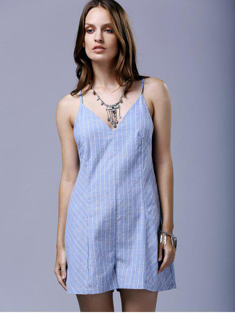 trendy Cross String Striped Spaghetti Straps Sleeveless Romper - BLUE AND WHITE 2XL Mobile