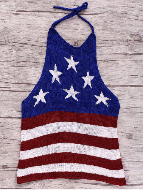 online American Flag Print Halter Crop Top - BLUE S Mobile