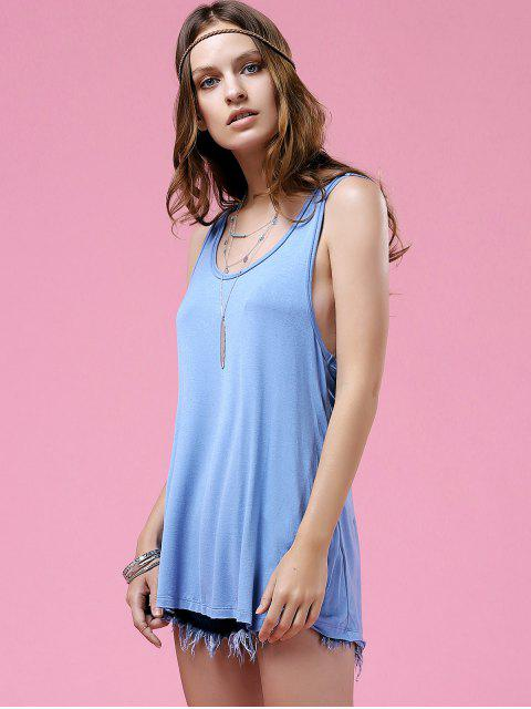 ladies Twisted Back Tank Top - BLUE L Mobile