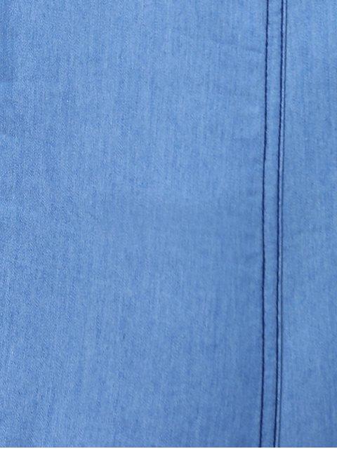 Denim Blue Plongeant Neck manches Playsuit - Bleu M Mobile
