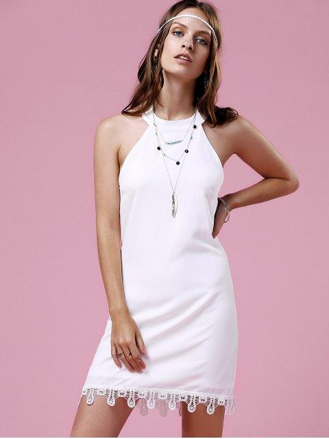 women's Lace Trim Halter Dress - WHITE M Mobile