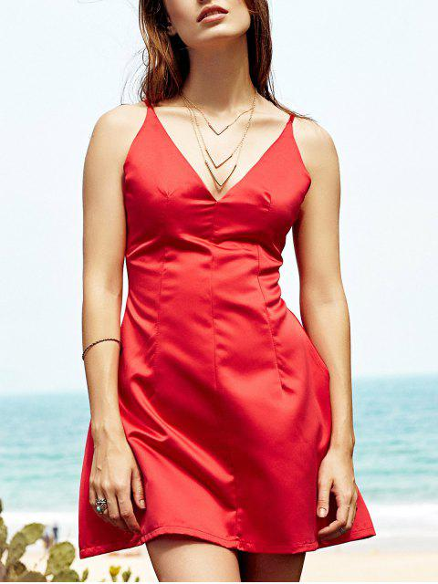 buy Low Cut Mini Party Dress - RED M Mobile